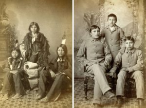 A before and after photo from Carlisle Indian School
